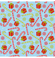 Seamless Pattern with Candy Stick and Gift Box vector image