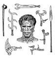 african tribe with spears and weapons portrait vector image vector image