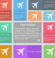 airplane icon sign Set of multicolored buttons vector image vector image