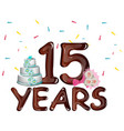 anniversary card 15 years on a light background vector image vector image