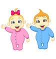 Baby boy and girl cartoon waving hand vector image vector image