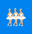 ballet dancers three balerinas dancing swan lake vector image vector image