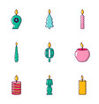 birthday candle icons set cartoon style vector image vector image