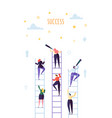 business people climbing on ladder to success vector image