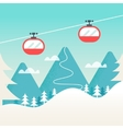 Cable Cars and Snowy Mountain Landscape Ski