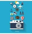 Camera flat icon World travel concept background vector image