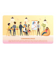 character work and study in coworking area banner vector image vector image