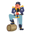criminal pirate with rum barrel and sword ship vector image vector image