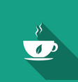 cup of tea and leaf icon isolated vector image