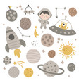 cute set planets with textures vector image