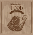 delicious food meat hand drawn poster vintage vector image