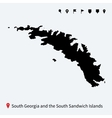 Detailed map of South Georgia and Sandwich Islands vector image