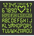 Digital led font alphabet letters and numbers vector image vector image