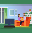 family together watching tv vector image vector image