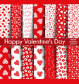 fourteen valentines day seamless patterns vector image vector image