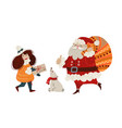 girl carries a letter to santa claus vector image