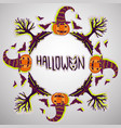 halloween background pumpkin bats and trees hand vector image vector image