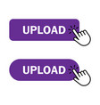 hand cursor clicks upload button vector image vector image
