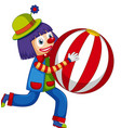 happy clown holding big ball on white background vector image