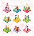 Isometric Happy Valentine Day Couple Set vector image