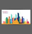 izmir colorful architecture skyline vector image vector image