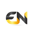 joined or connected en e n yellow black alphabet vector image vector image