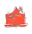 laptop with megaphone speaker icon in comic style vector image vector image