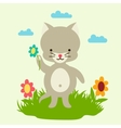 little cute bacat picking flowers vector image