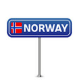 norway road sign national flag with country name vector image