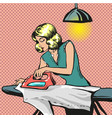 pop art of woman ironing vector image vector image