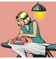 pop art of woman ironing vector image vector image