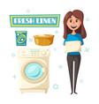 poster with laundry and washing machine vector image vector image