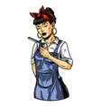 pretty female barber with closed eyes vector image vector image