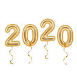 realistic golden balloons decoration 2020 happy vector image vector image