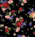 Seamless floral pattern with red roses and pink