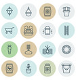 set of 16 gardening icons includes fertilizer vector image vector image