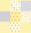 set of baby patterns seamless pattern vector image vector image