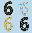 set of retro floral numbers six vector image