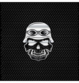 Silver skull in helmet on metal background biker vector image