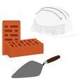 Spatula brick and helmet vector image vector image
