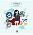 superhero business woman cartoon for start up vector image vector image