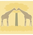 Two giraffes under tree vector image vector image