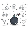 video game bomb explosive button icon vector image
