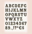 vintage western circus and tattoo abc font vector image