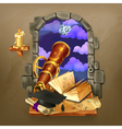 window in castle magic and astrology vector image vector image