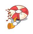 with trumpet swim tube mascot cartoon vector image