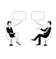 woman and man are talking black outline vector image vector image