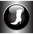 Women winter boot flat icon on black button vector image vector image