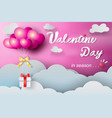 paper art of valentine day ballon with gift vector image
