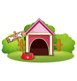 A wooden doghouse at the yard vector image vector image